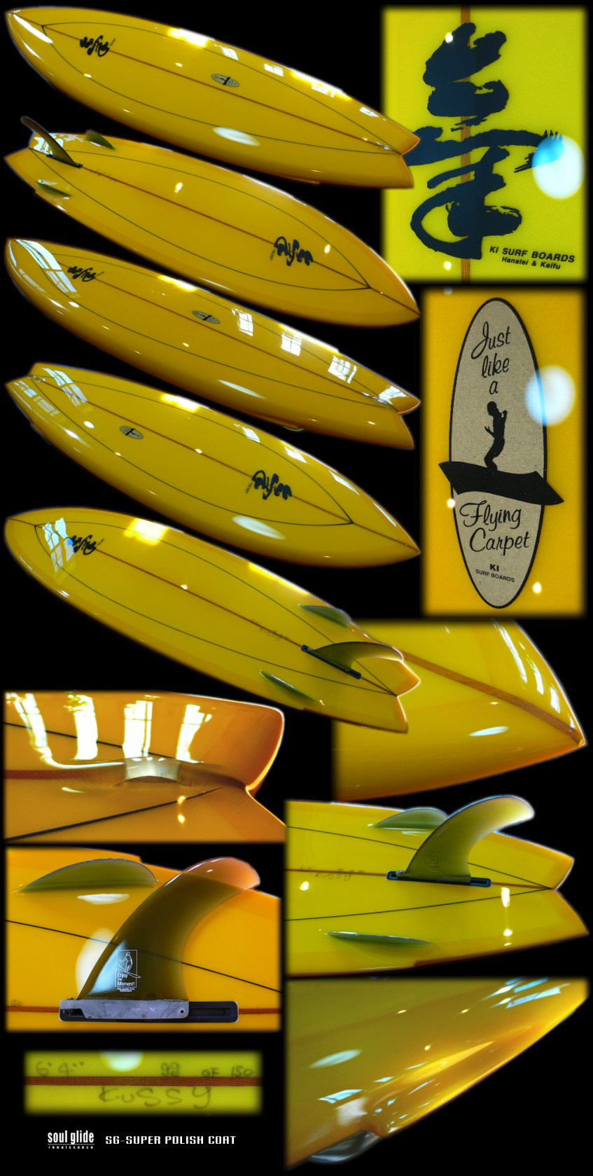 KI SURFBOARDS KI WING SWALLOW BONZER 64 YELLOW